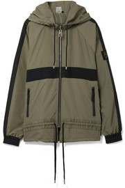 Man Down jersey-trimmed printed hooded shell jacket