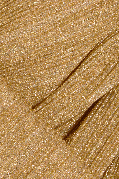 Emilia Wickstead Midikleid aus plissiertem Metallic-Jersey