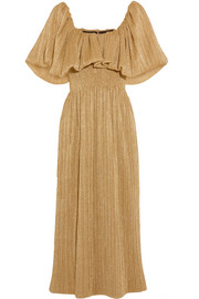 Emilia Wickstead Metallic plissé-jersey midi dress