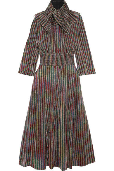 Striped Metallic Ribbed-knit Midi Dress - UK10 Emilia Wickstead b6TYsh
