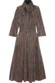Emilia Wickstead Striped metallic ribbed-knit midi dress