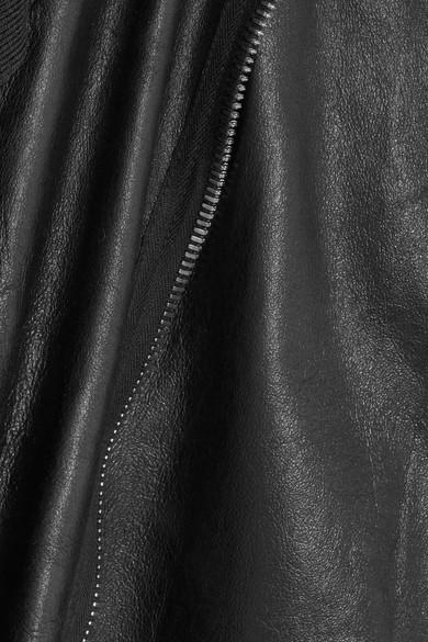 Rick Owens Bikerjacke aus Leder mit Wolleinsätzen