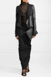 Rick Owens Wool-paneled leather biker jacket