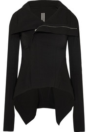 Rick Owens Naska asymmetric cotton-blend crepe biker jacket