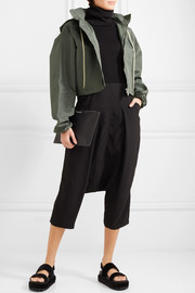 Cropped hooded shell jacket
