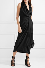 Rick Owens Wrap-effect silk halterneck midi dress