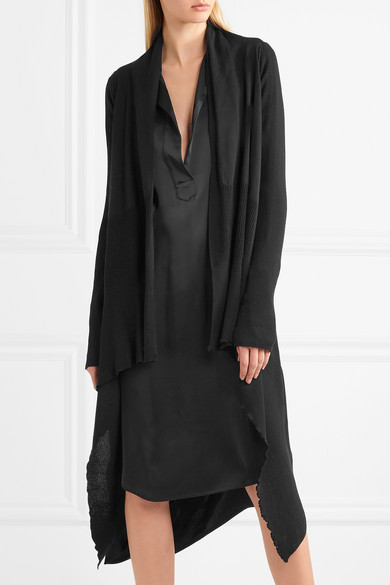 Rick Owens Asymmetrical Ribbed Cardigan Made Of Cotton