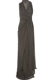 Rick Owens Wrap-effect silk-chiffon halterneck maxi dress