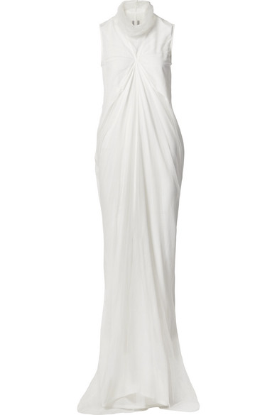 Rick Owens Layered Silk Crepe And Tulle Maxi Dress In White
