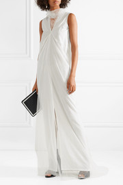 Layered silk-crepe and tulle maxi dress