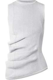 Ruched ribbed stretch-knit top