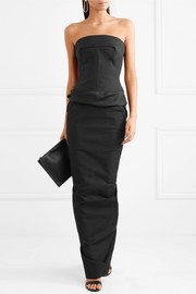 Rick Owens Silk-satin, stretch-knit and cotton-blend bustier top