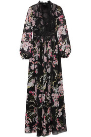 Giambattista Valli Lace-trimmed floral-print silk-chiffon maxi dress