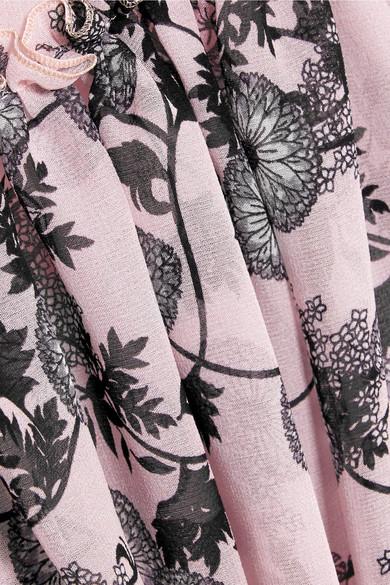 Giambattista Valli Midikleid aus Seidenchiffon mit floralem Print und Spitzenbesätzen