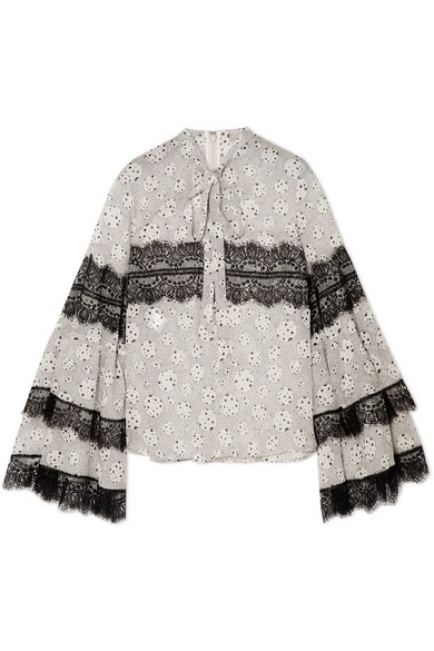 Giambattista Valli - Pussy-bow Lace-trimmed Printed Silk-chiffon Blouse - Ivory