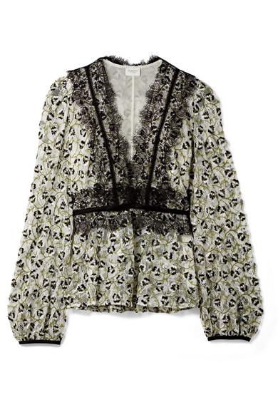 Giambattista Valli Bestickte Bluse aus Spitze aus einer Baumwollmischung mit Applikationen