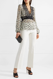 Giambattista Valli Appliquéd embroidered cotton-blend lace blouse