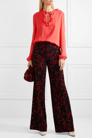 Giambattista Valli Ruffled silk-chiffon blouse