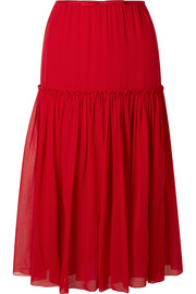 Giambattista Valli Gathered silk-chiffon midi skirt