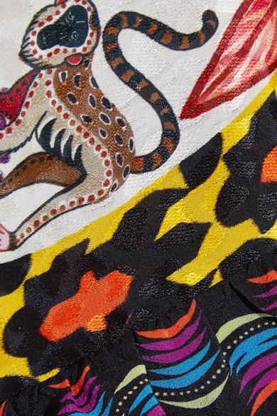 Etro Bedrucktes Maxikleid aus Seiden-Jacquard und Rüschen aus Crêpe de Chine