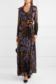 Lace-paneled floral-print silk-chiffon maxi and shirt dress set