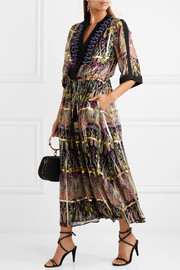 Embellished metallic printed silk-blend jacquard maxi dress