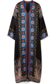 Embroidered printed silk-satin kaftan