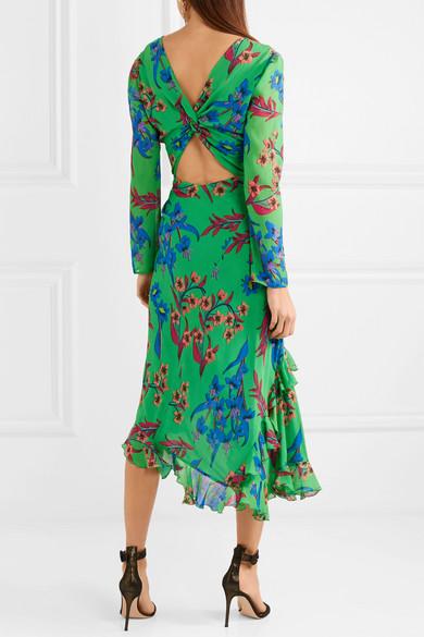 Twist-back Ruffled Asymmetric Floral-print Silk-crepon Midi Dress - Green Etro f8kOzT25iJ