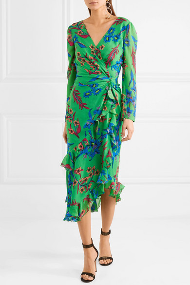 Twist-back Ruffled Asymmetric Floral-print Silk-crepon Midi Dress - Green Etro BnSMaUM