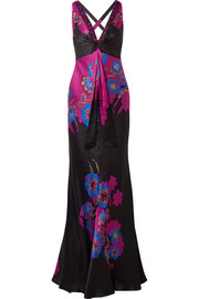 Embellished floral-print silk-satin gown