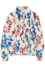 Etro Printed crinkled-silk blouse