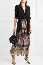Metallic printed silk-blend jacquard maxi skirt