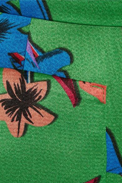 Etro Hose mit weitem Bein aus gehämmertem Seidensatin mit floralem Print