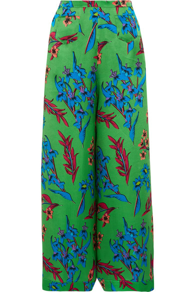 Etro - Floral-print Hammered Silk-satin Wide-leg Pants - Green