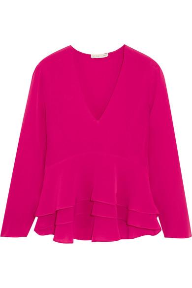 Etro - Ruffled Silk-crepe Peplum Blouse - Pink