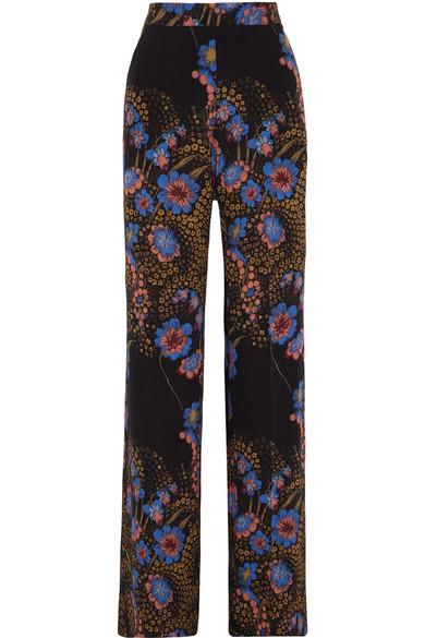 Etro Seidenhose mit weitem Bein aus Crêpe de Chine mit floralem Print