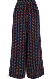 Printed silk-chiffon wide-leg pants