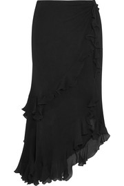 Ruffled crinkled silk-georgette midi skirt