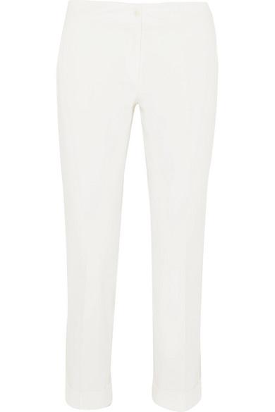 Etro Verkürzte Hose mit schmalem Bein aus Crêpe aus Stretch-Baumwolle