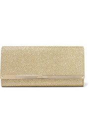 Milla textured-lamé clutch