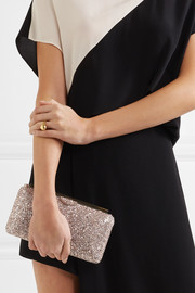 Jimmy Choo Ellipse glittered satin clutch