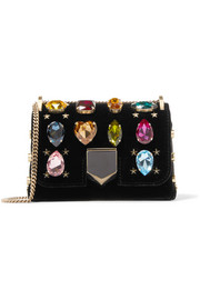 Jimmy Choo Lockett Petite crystal-embellished velvet shoulder bag