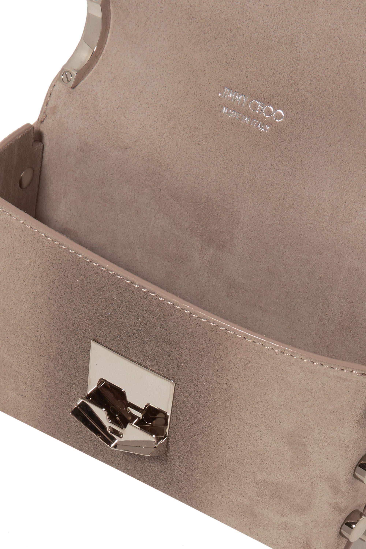Jimmy Choo Lockett mini glittered suede shoulder bag