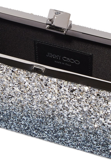 Jimmy Choo Celeste Clutch aus Canvas mit Glitter-Finish