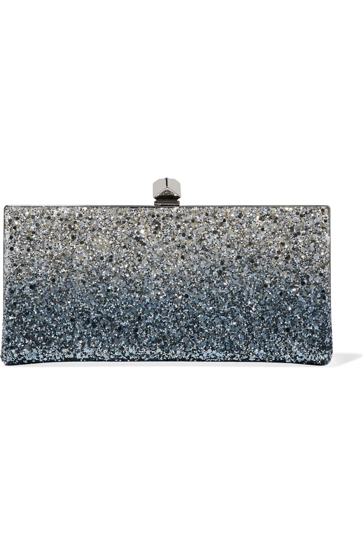 Jimmy Choo Celeste glittered canvas clutch