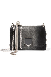 Jimmy Choo Lockett mini glittered suede shoulder bag