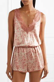 Poppy Snoozing lace-trimmed leopard-print stretch-silk satin playsuit