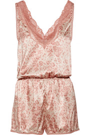 Stella McCartney Poppy Snoozing lace-trimmed leopard-print stretch-silk satin playsuit