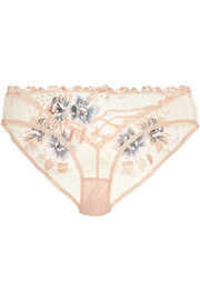 Julie satin-trimmed embroidered tulle briefs