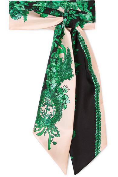Fendi - Printed Silk-twill Scarf - Green